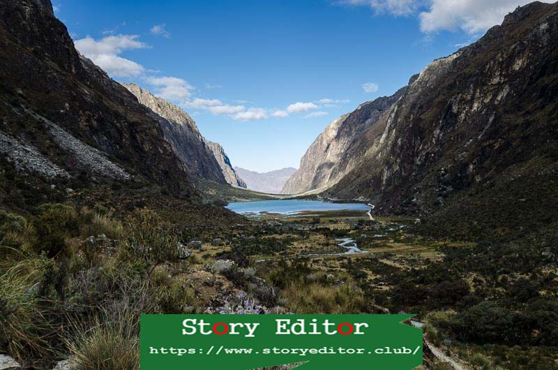 V-shaped valley with lake in the center in the Cordillera Blanca of Peru