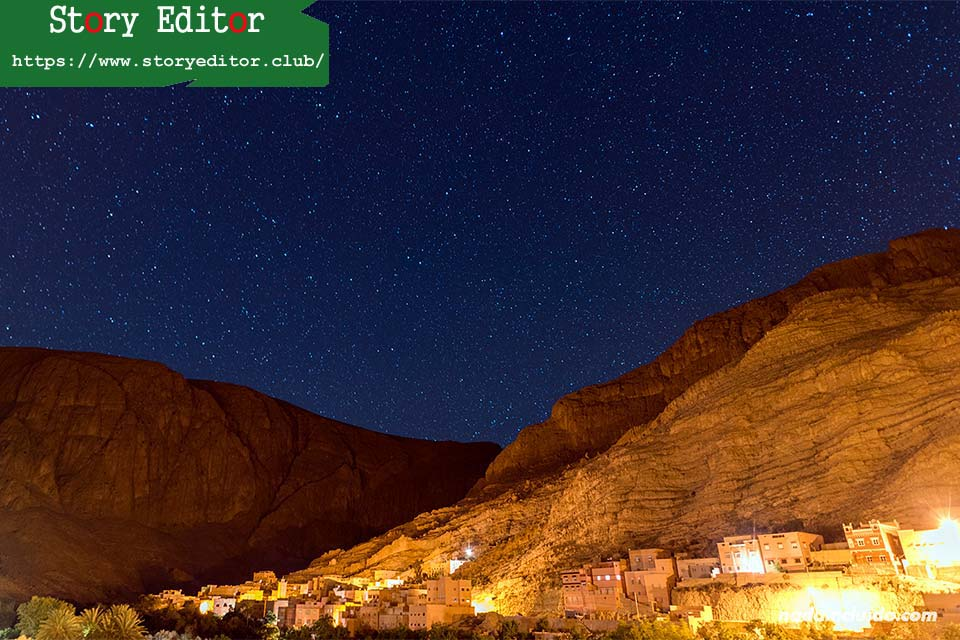 View of the Todra gorge at night from a hotel (Morocco)