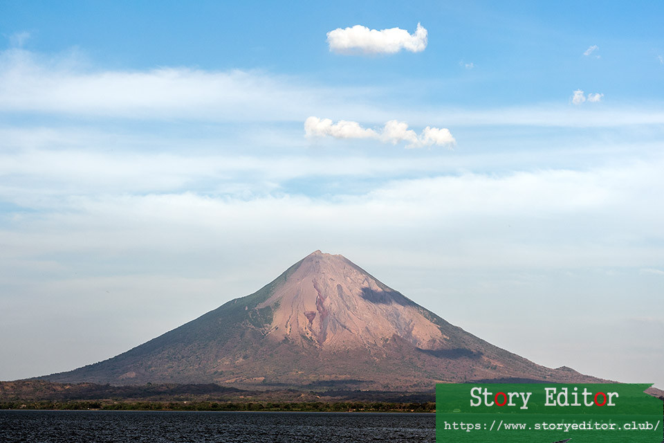 View from the ferry of the Conception volcano on Ometepe Island (Nicaragua)