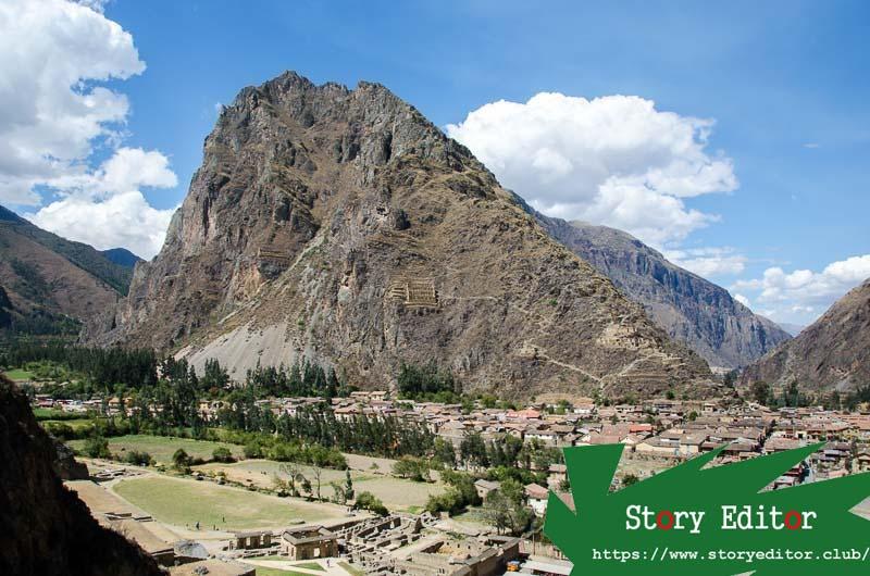 ollantaytambo mountain with Inca constructions