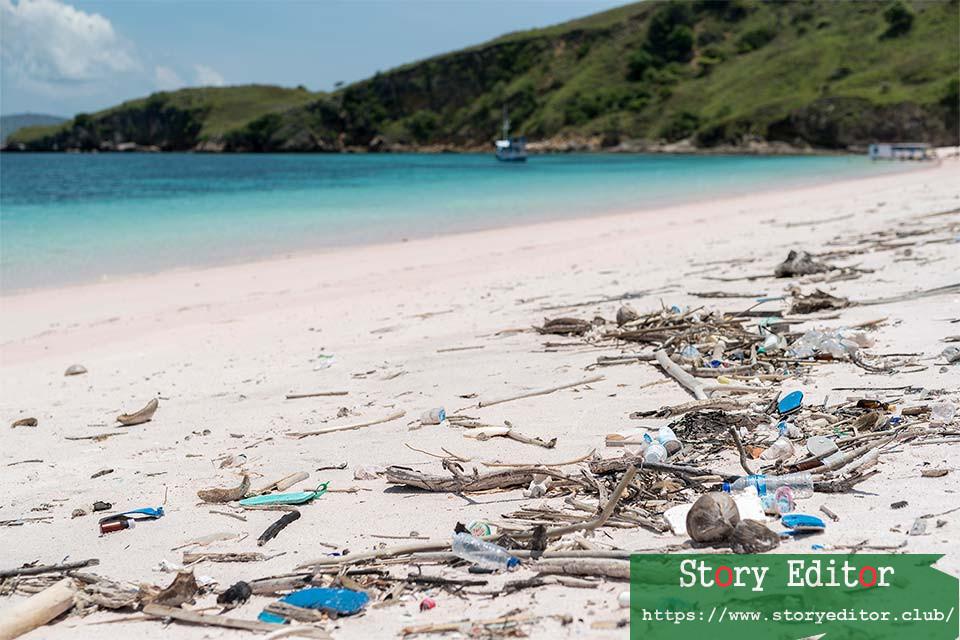 Garbage on the pink beach of Padar Island in Komodo National Park, Indonesia