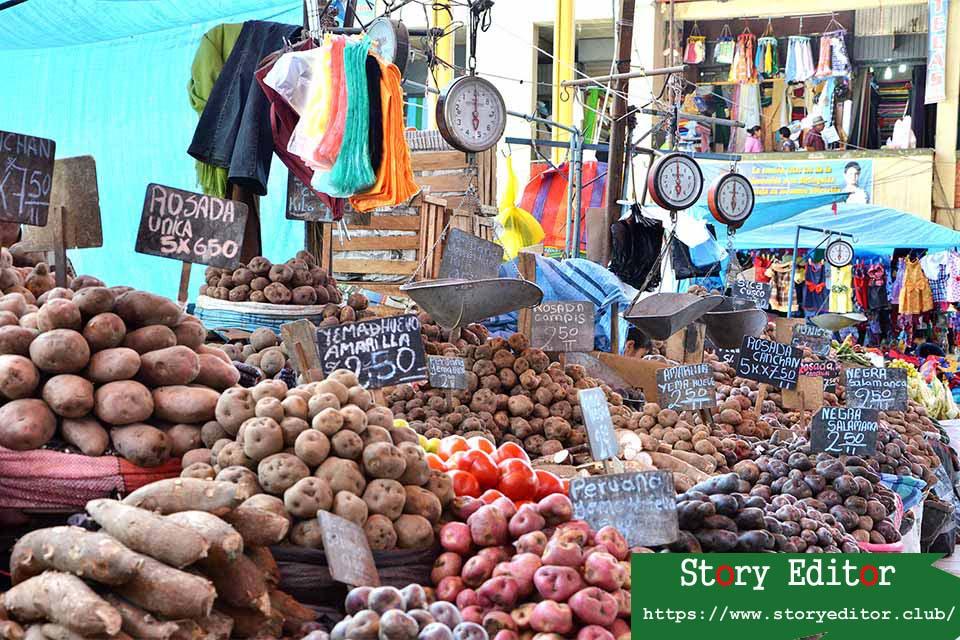 Potato stall in the Arequipa market (Peru)