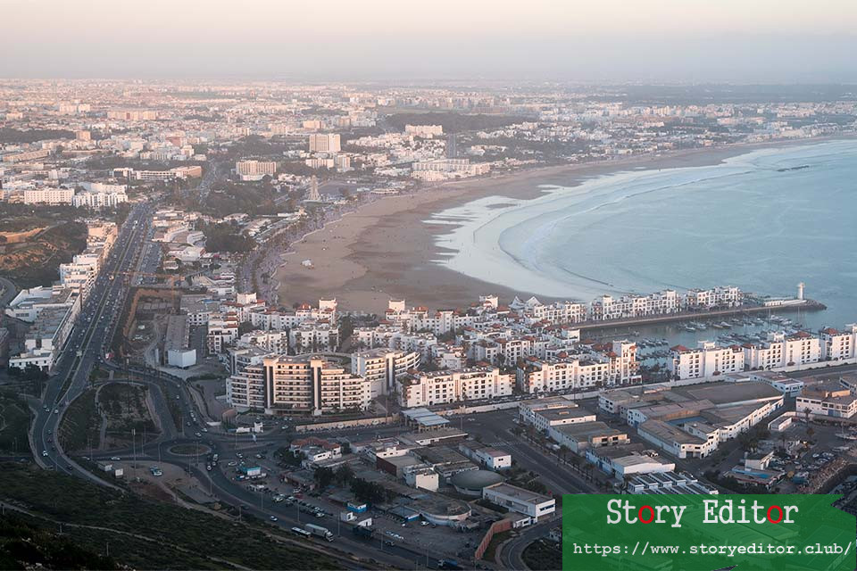View of Agadir from the ancient Kasbah at sunset (Morocco)