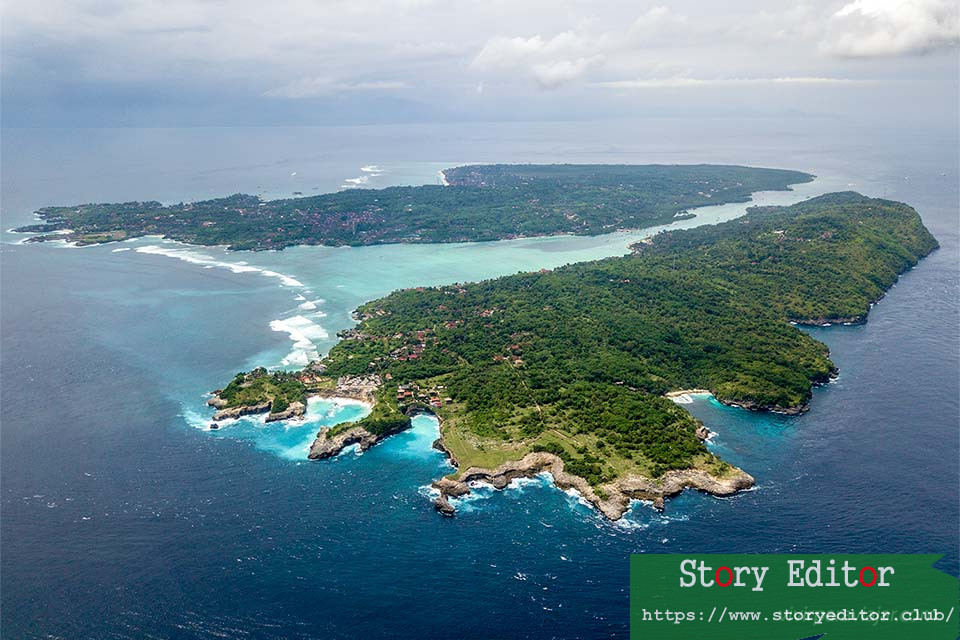 View from the drone of the Nusa Islands (Indonesia)