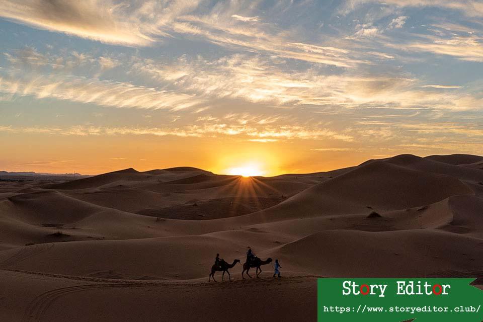 Sunset at Erg Chebbi, the desert of Morocco