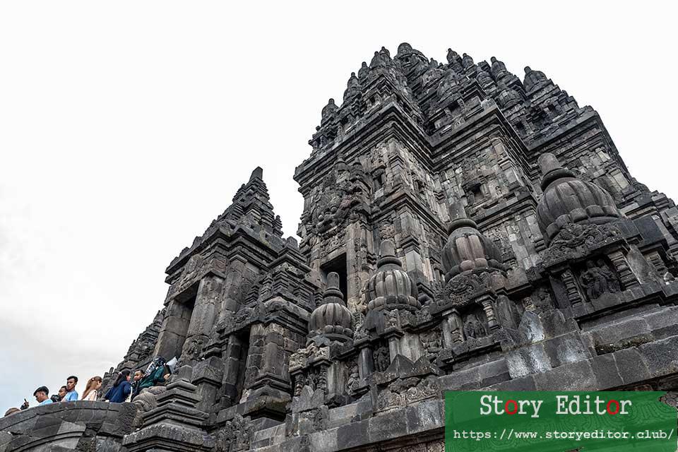 Shiva temple from below in Prambanan (Java, Indonesia)