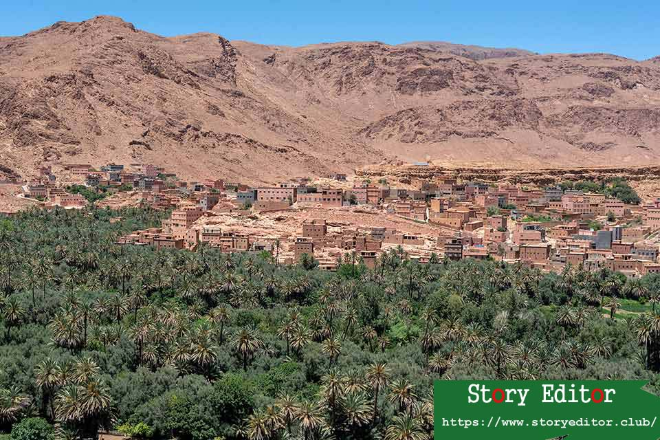 Views of the Tinghir palm grove from a viewpoint (Morocco)